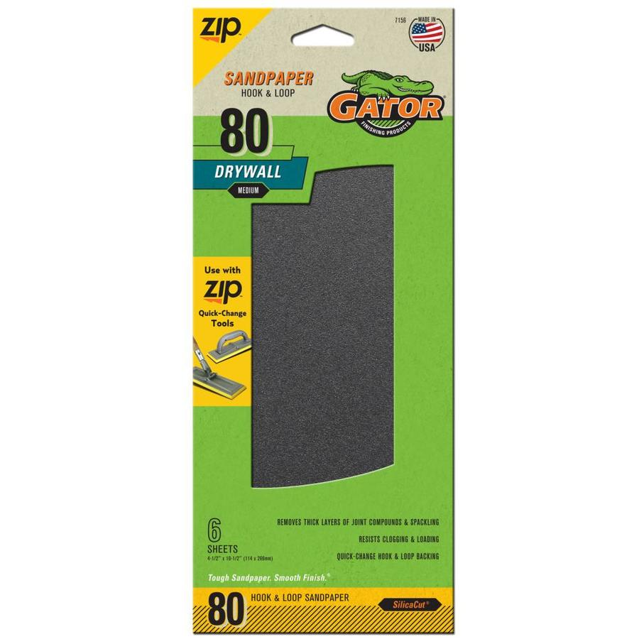 Gator 6-Pack 4.5-in W x 10.5-in L 80-Grit Commercial Drywall Hook and Loop Sanding Sheets