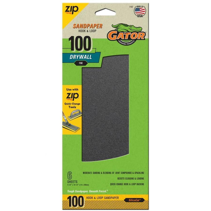 Gator 6-Pack 4.5-in W x 10.5-in L 100-Grit Commercial Drywall Hook And Loop Sanding-Sheet Sandpaper