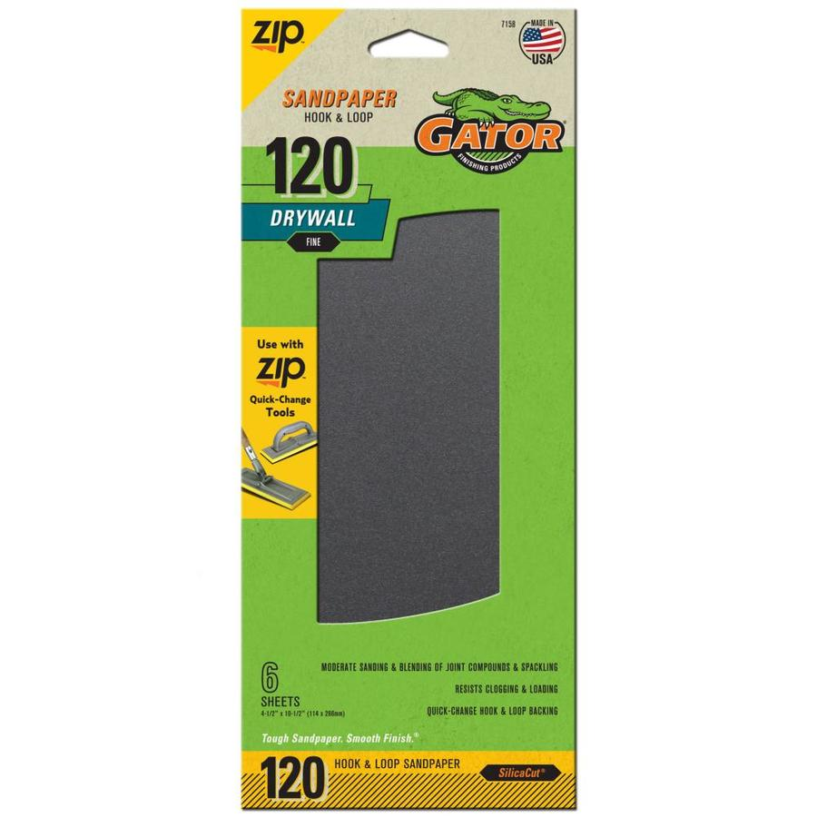 Gator 6-Pack 4.5-in W x 10.5-in L 120-Grit Commercial Drywall Hook and Loop Sanding Sheets