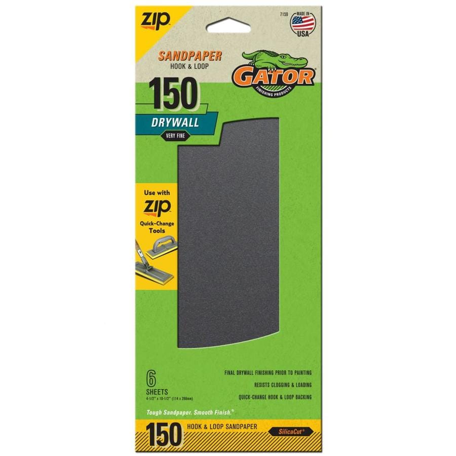 Gator 6-Pack 4.5-in W x 10.5-in L 150-Grit Commercial Drywall Hook And Loop Sanding-Sheet Sandpaper