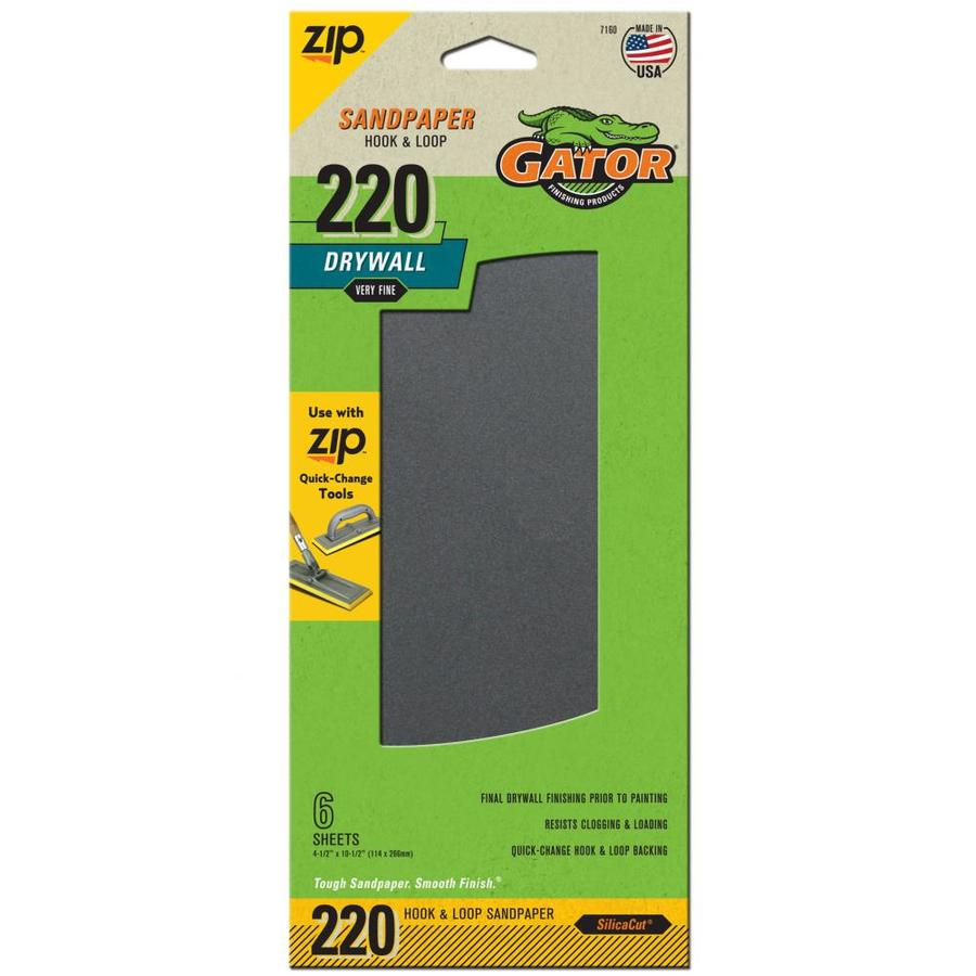 Gator 6-Pack 4.5-in W x 10.5-in L 220-Grit Commercial Drywall sheet Sandpaper