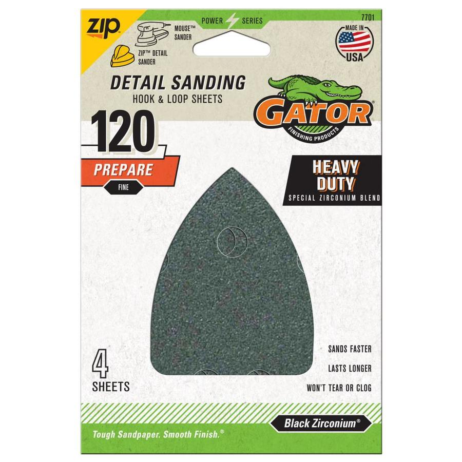 Gator Mouse Sandpaper-Sheet 4-Pack 3.75-in W x 5.25-in L 120-Grit Commercial Hook And Loop Detail Sandpaper