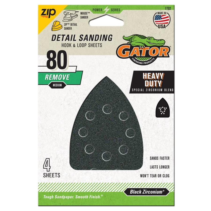 Gator Mouse Sandpaper-Sheet 4-Pack 3.75-in W x 5.25-in L 80-Grit Commercial Hook And Loop Detail Sandpaper