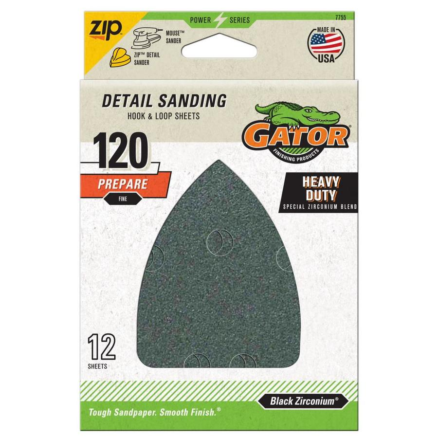 Gator Mouse Sandpaper-Sheet 12-Pack 3.75-in W x 5.25-in L 120-Grit Commercial Hook And Loop Detail Sandpaper