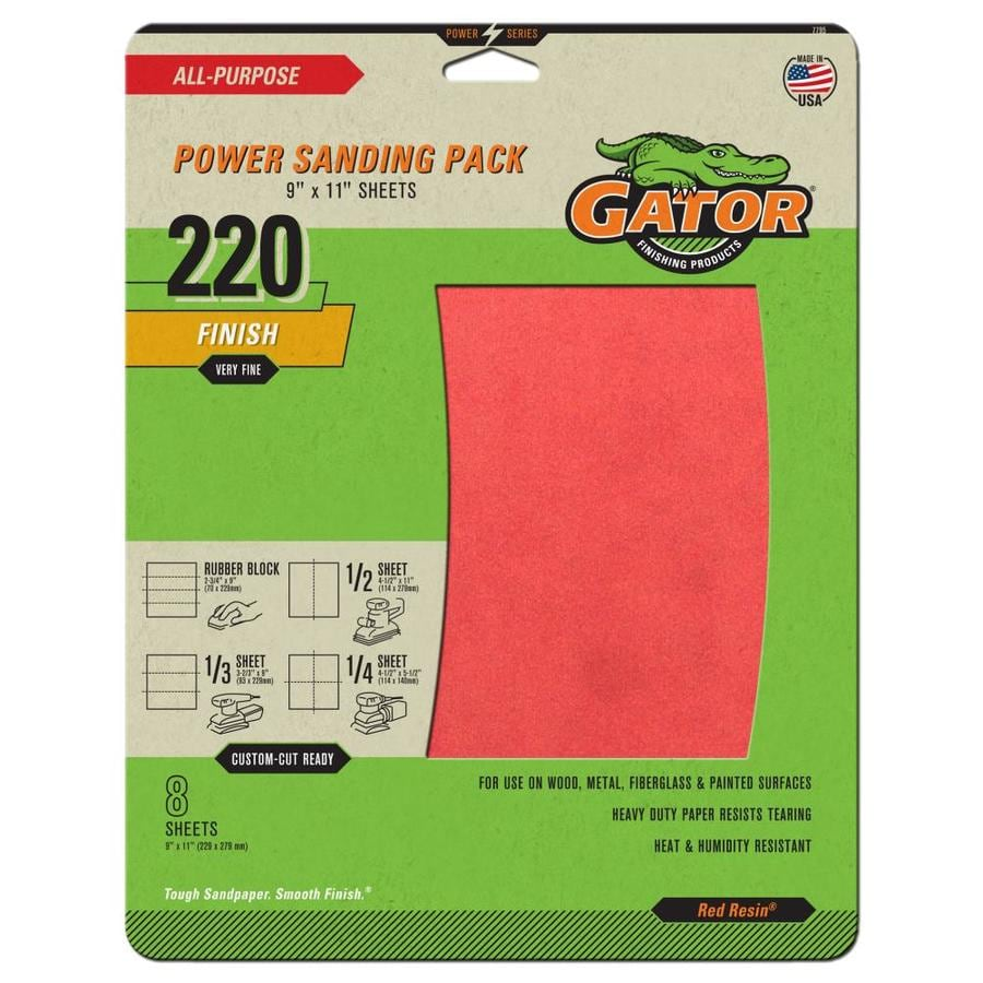 Gator 8-Pack 9-in W x 11-in L 220-Grit Commercial Multi-Surface Power Sandpaper