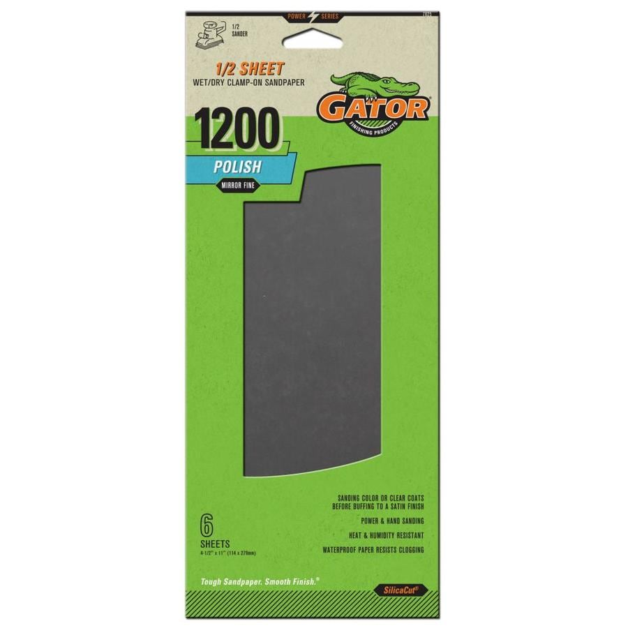 Gator 6-Pack 4.5-in W x 11-in L 1200-Grit Commercial Wet/Dry Sanding Sheet Sandpaper