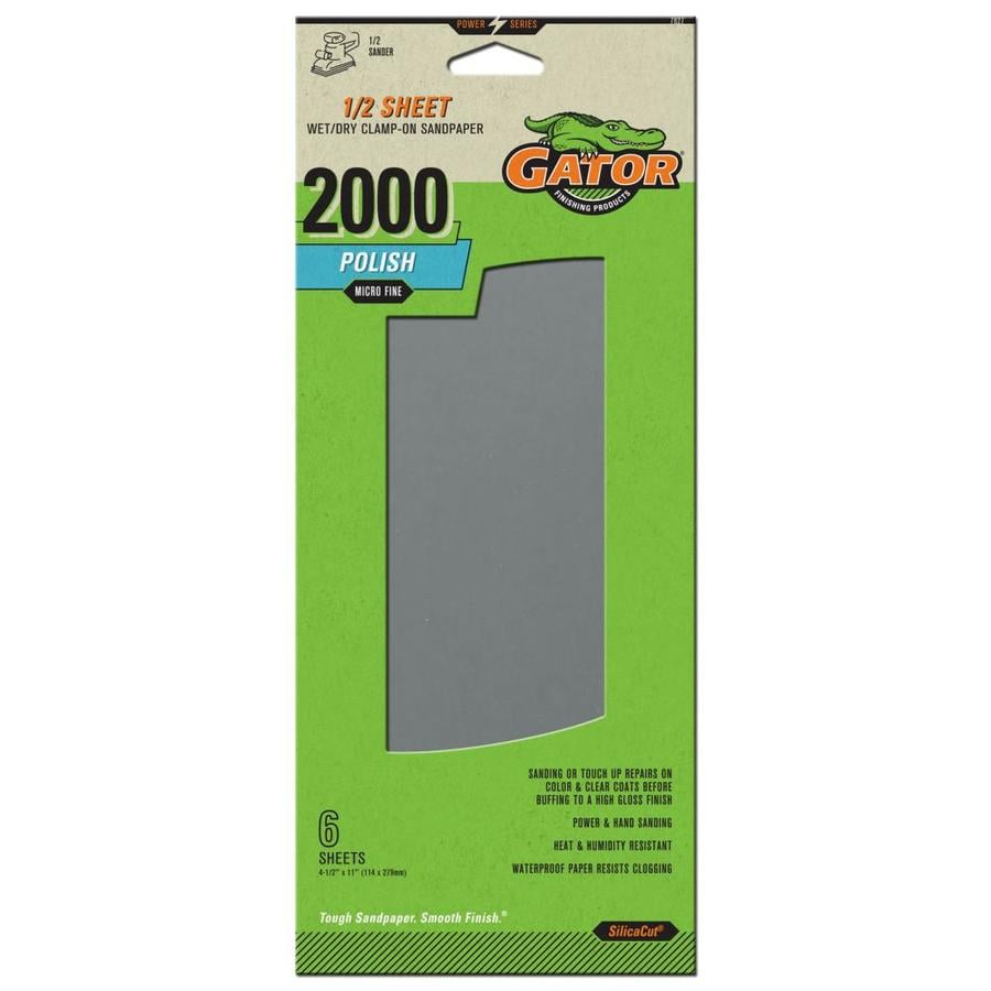 Gator 6-Pack 4.5-in W x 11-in L 2,000-Grit Commercial Sandpaper Sheets