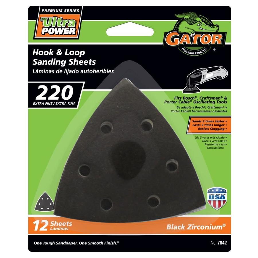 Gator 12-Pack 3-in W x 3-in L 220-Grit Commercial Hook and Loop Detail Sandpaper