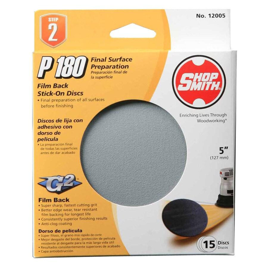 Shopsmith 15-Pack 5-in W x 5-in L 180-Grit Commercial Sanding Disc Sandpaper