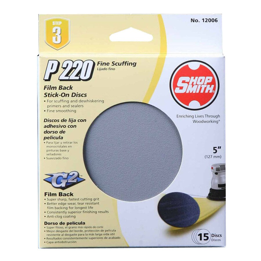 Shopsmith 15-Pack 5-in W x 5-in L 220-Grit Commercial Sanding Disc Sandpaper