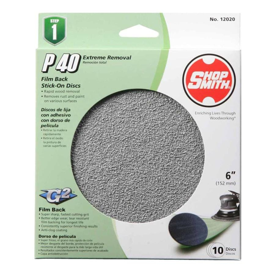 Shopsmith 15-Pack 6-in W x 6-in L 40-Grit Commercial Sanding Disc Sandpaper