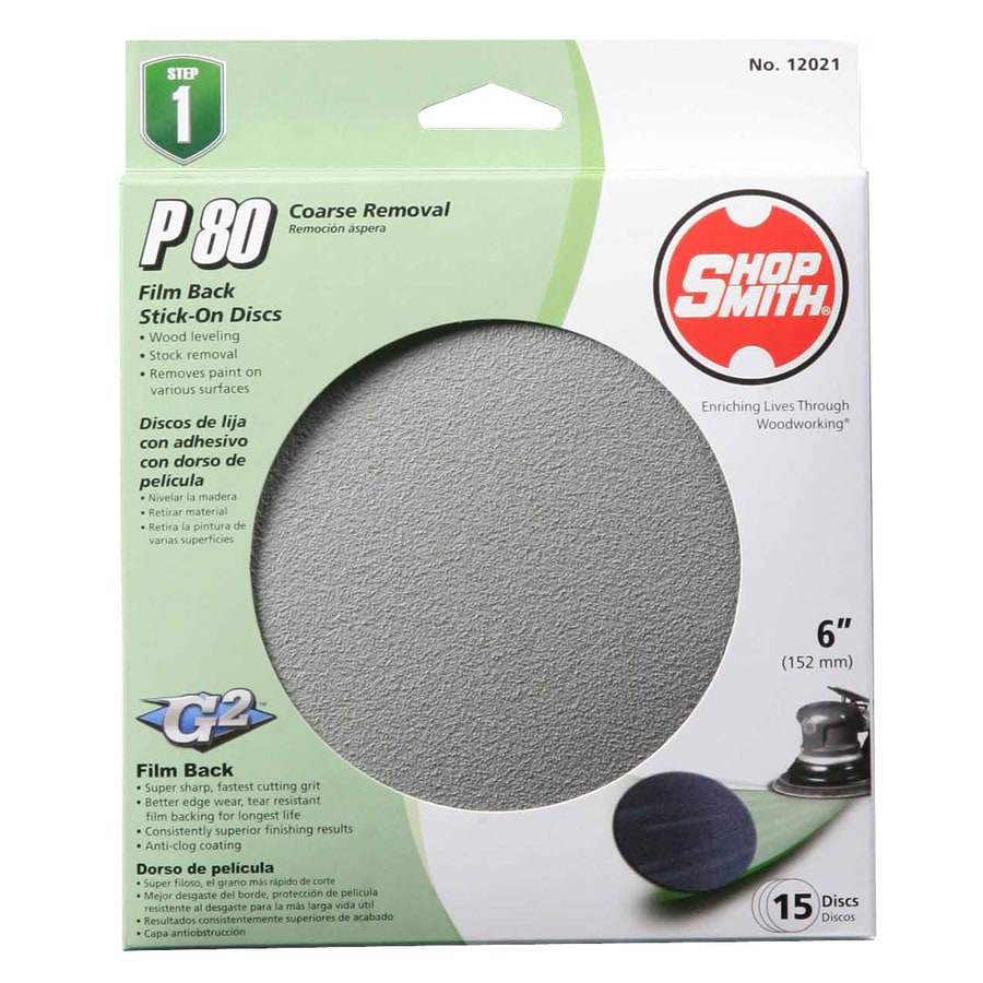 Shopsmith 15-Pack 6-in W x 6-in L 80-Grit Commercial Sanding Disc Sandpaper