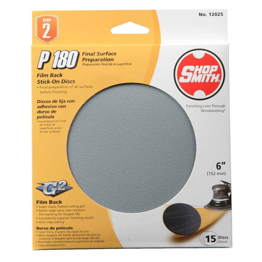 Shopsmith 15-Pack 6-in W x 6-in L 180-Grit Commercial Sanding Disc Sandpaper