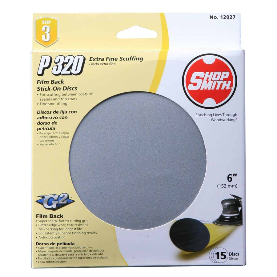 Shopsmith 15-Pack 6-in W x 6-in L 320-Grit Commercial Sanding Disc Sandpaper