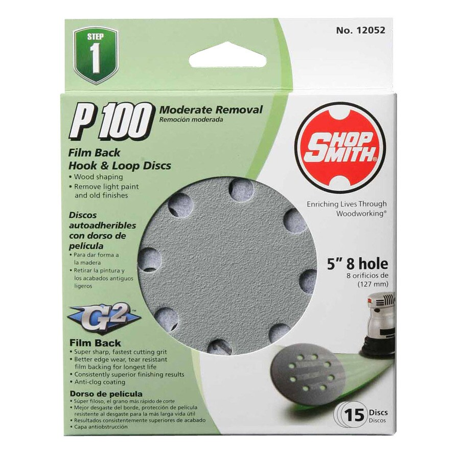 Shopsmith 15-Pack 100-Grit 5-in W x 5-in L Sanding Disc Sandpaper