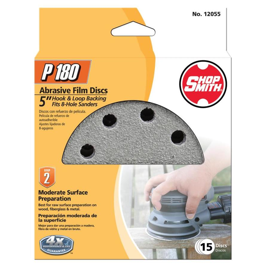 Shopsmith 15-Pack 5-in W x 5-in L 180-Grit Commercial Sanding Disc Sandpaper