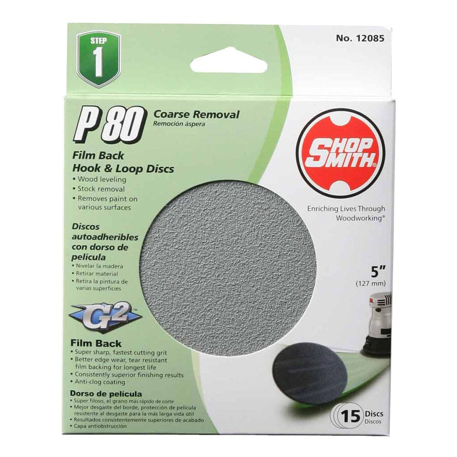 Shopsmith 15-Pack 5-in W x 5-in L 80-Grit Commercial Sanding Disc Sandpaper