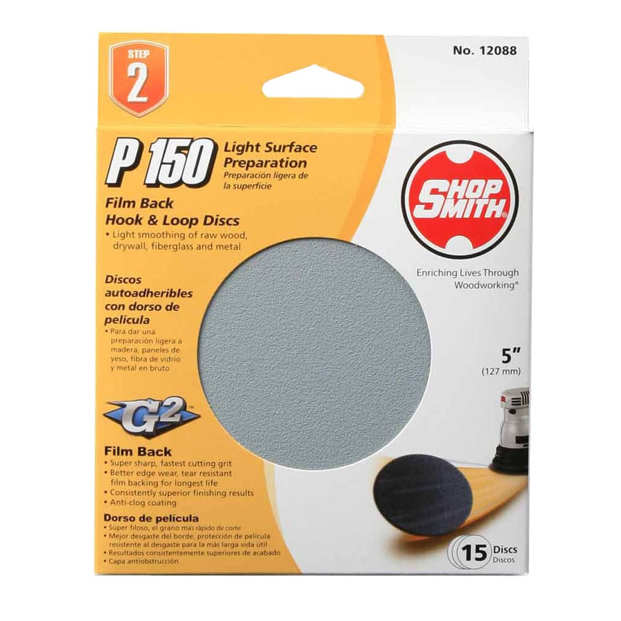 Shopsmith 15-Pack 5-in W x 5-in L 150-Grit Commercial Sanding Disc Sandpaper