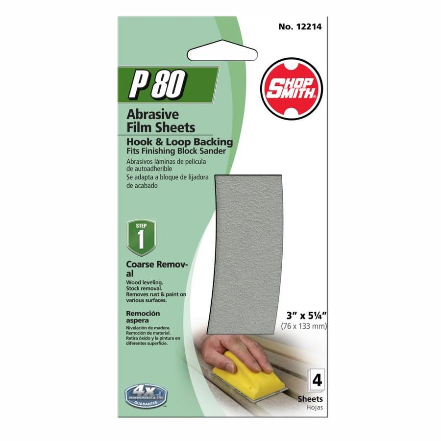 Shopsmith 4-Pack 3-in W x 5.25-in L 80-Grit Commercial Sanding-Sheet Sandpaper