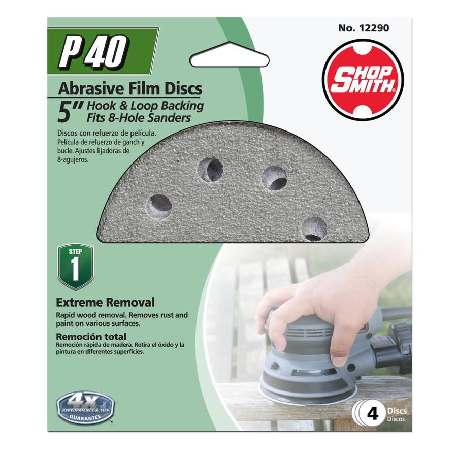 Shopsmith 4-Pack 5-in W x 5-in L 40-Grit Commercial Sanding Discs Sandpaper