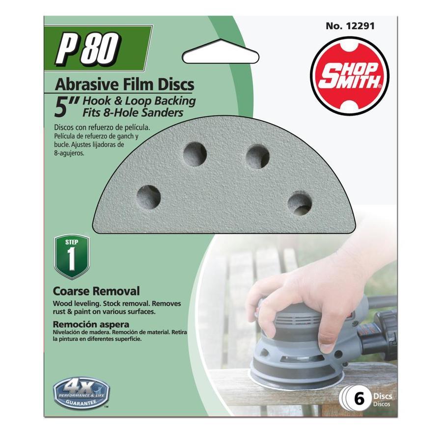 Shopsmith 6-Pack 5-in W x 5-in L 80-Grit Commercial Sanding Discs Sandpaper