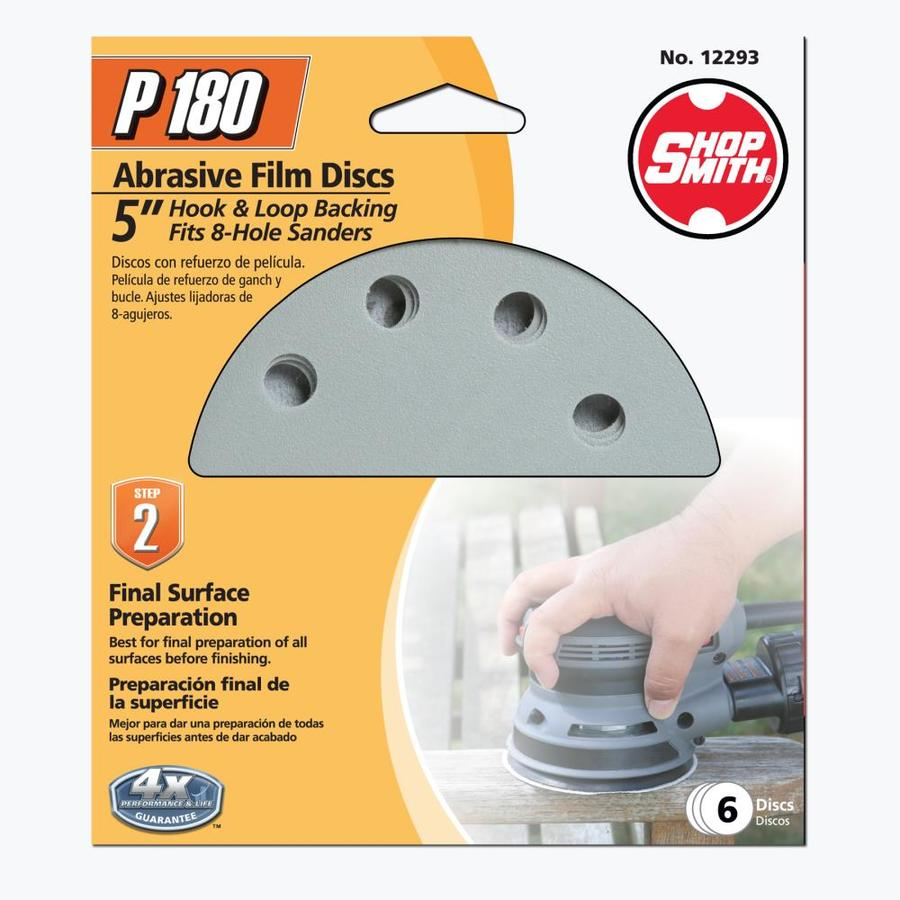 Shopsmith 6-Pack 5-in W x 5-in L 180-Grit Commercial Sanding Discs Sandpaper