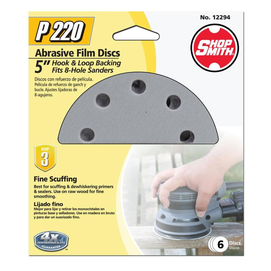 Shopsmith 6-Pack 5-in W x 5-in L 220-Grit Commercial Sanding Discs Sandpaper