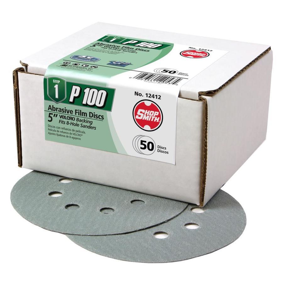 Shopsmith 50-Pack 5-in W x 5-in L 100-Grit Commercial Sanding Discs Sandpaper