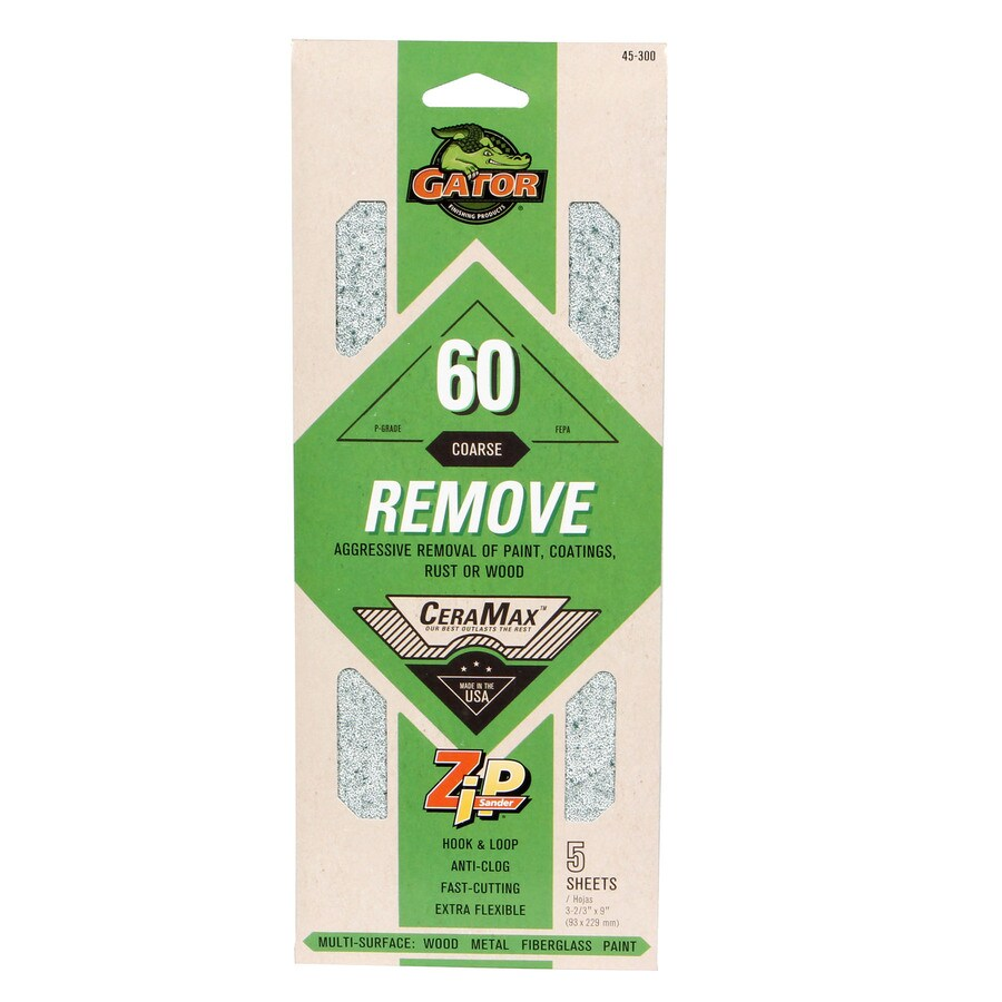 Gator CeraMax 5-Pack 3.66-in W x 9-in L 60-Grit Premium 1/3 Sandpaper Sheets