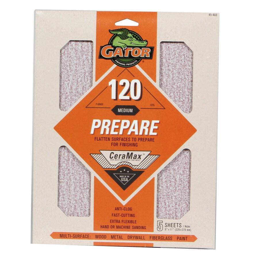 Gator CeraMax 5-Pack 9-in W x 11-in L 120-Grit Premium Sandpaper Sheets