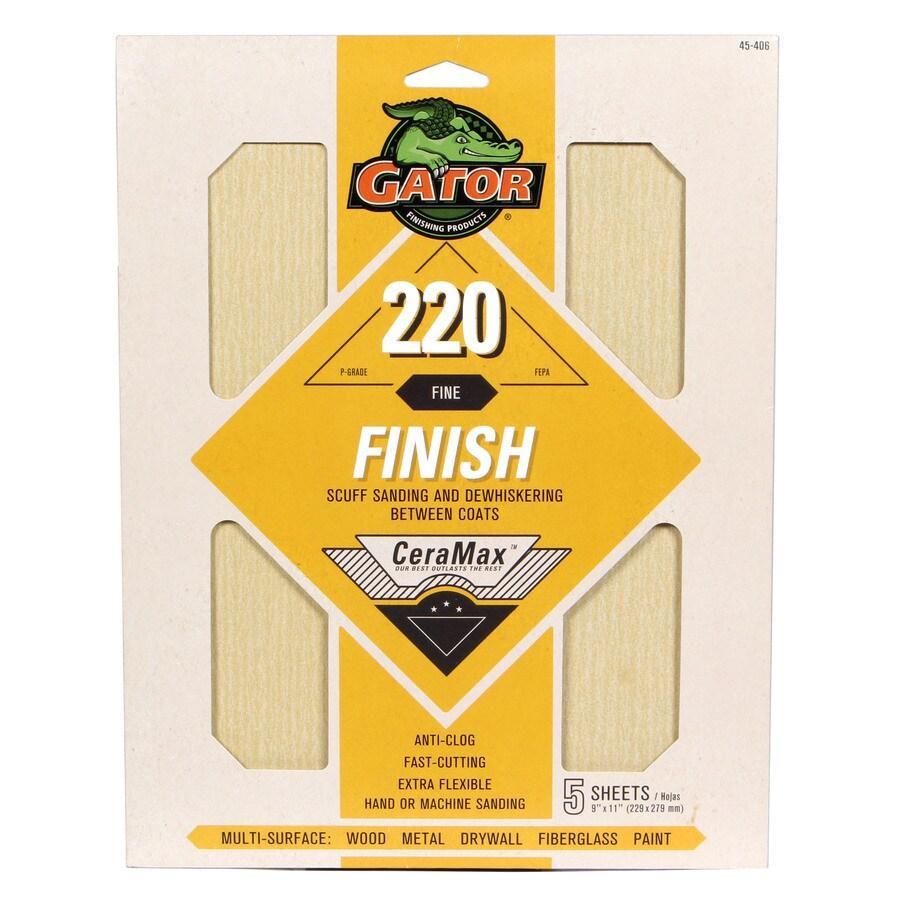 Gator CeraMax 5-Pack 9-in W x 11-in L 220-Grit Premium Sandpaper Sheets