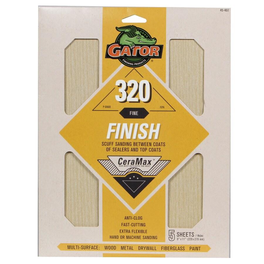 Gator CeraMax 5-Pack 9-in W x 11-in L 320-Grit Premium Sanding Sheet Sandpaper
