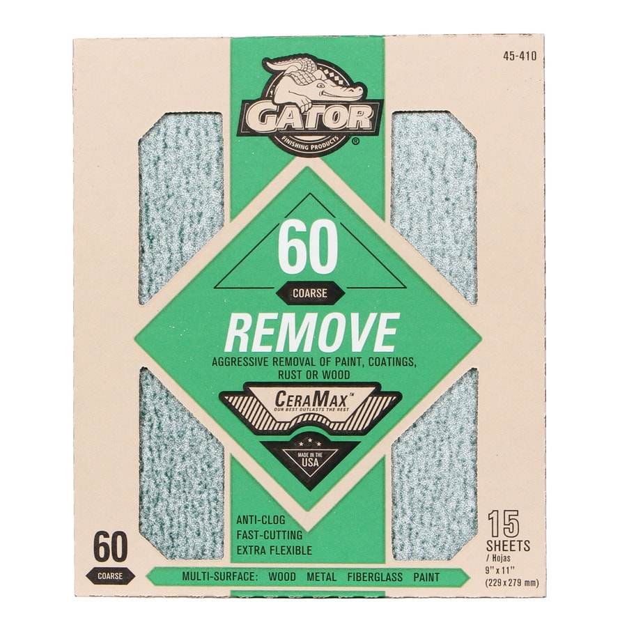 Gator CeraMax 15-Pack 9-in W x 11-in L 60-Grit Premium Sandpaper Sheets