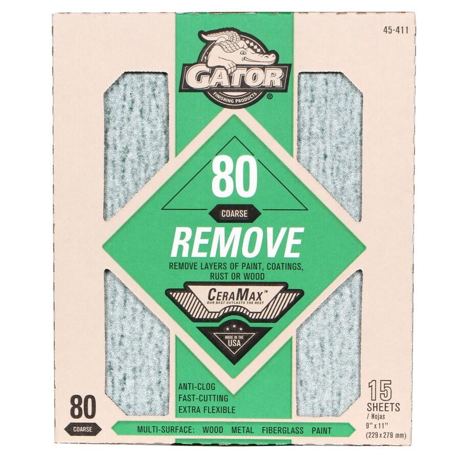 Gator CeraMax 15-Pack 9-in W x 11-in L 80-Grit Premium Sandpaper Sheets