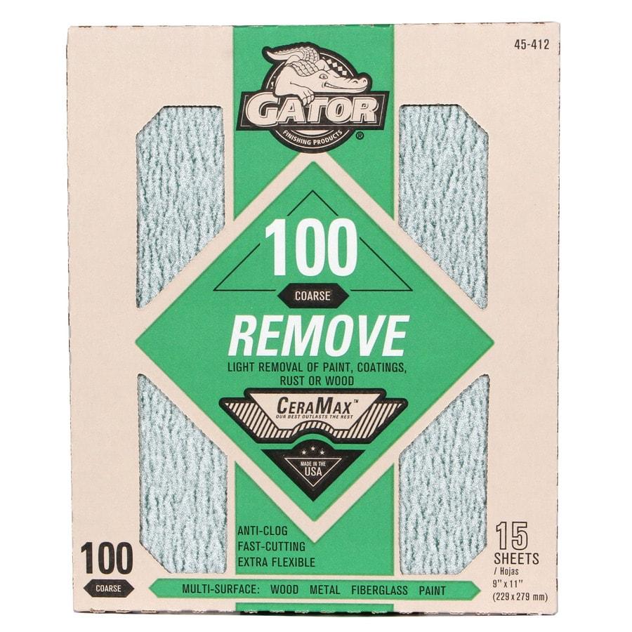 Gator CeraMax 15-Pack 9-in W x 11-in L 100-Grit Premium Sandpaper Sheets