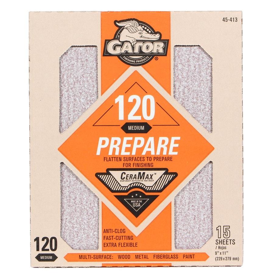 Gator CeraMax 15-Pack 9-in W x 11-in L 120-Grit Premium Sandpaper Sheets