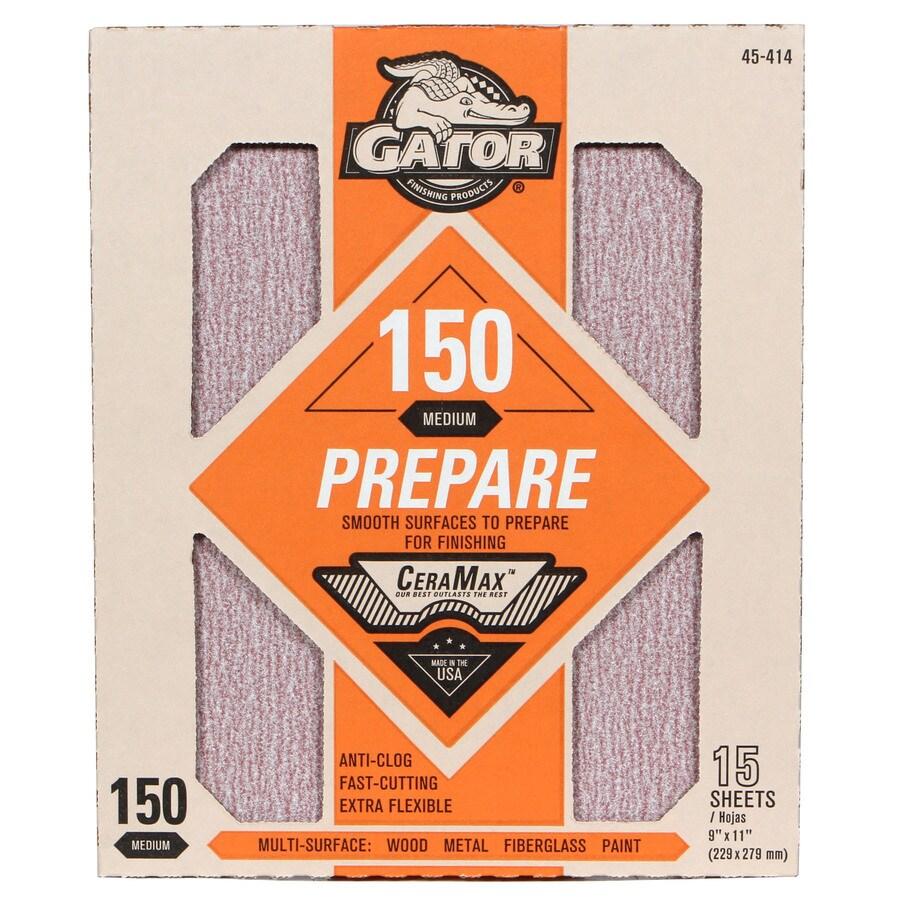 Gator CeraMax 15-Pack 9-in W x 11-in L 150-Grit Premium Sandpaper Sheets