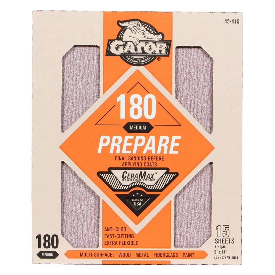 Gator CeraMax 15-Pack 9-in W x 11-in L 180-Grit Premium Sandpaper Sheets