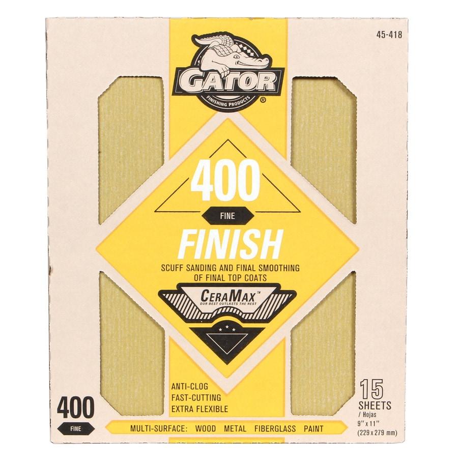 Gator CeraMax 15-Pack 9-in W x 11-in L 400-Grit Premium Sandpaper Sheets
