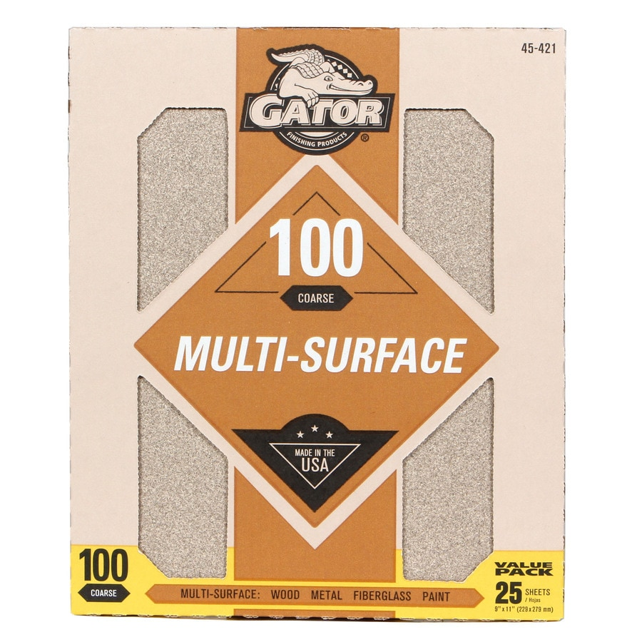 Gator 25-Pack 9-in W x 11-in L 100-Grit Commercial Sandpaper Sheets