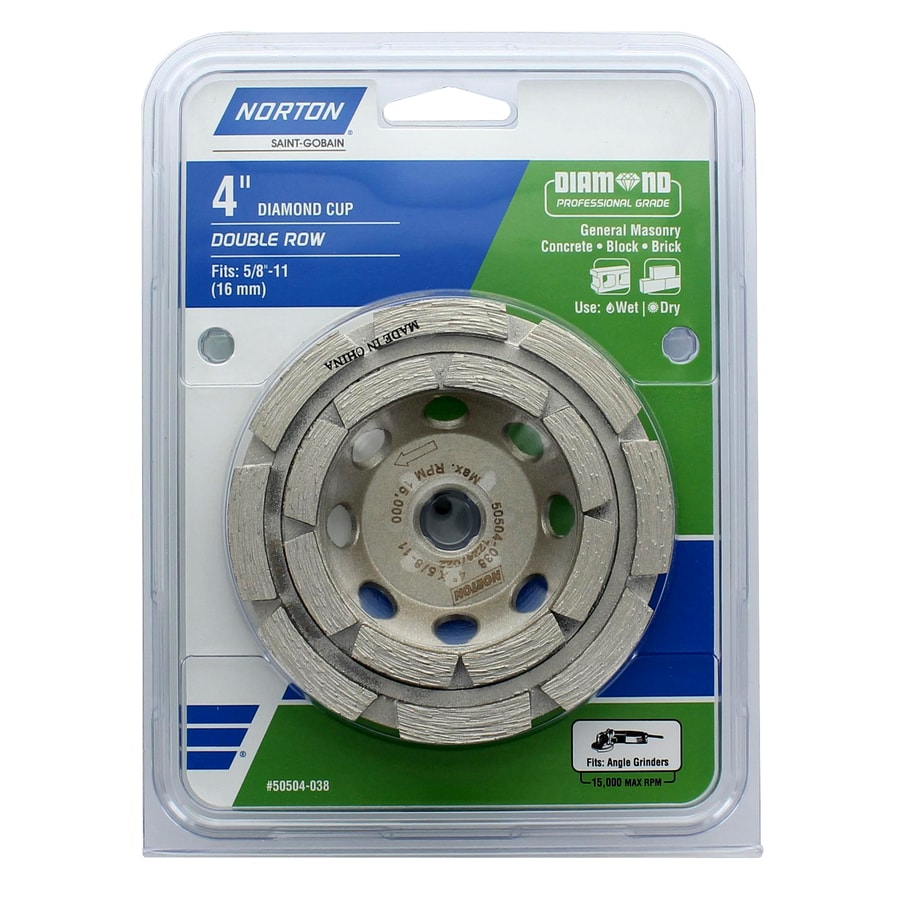 Norton Diamond Cup- Double Row Diamond 4-in 24-Grit Cup Wheel