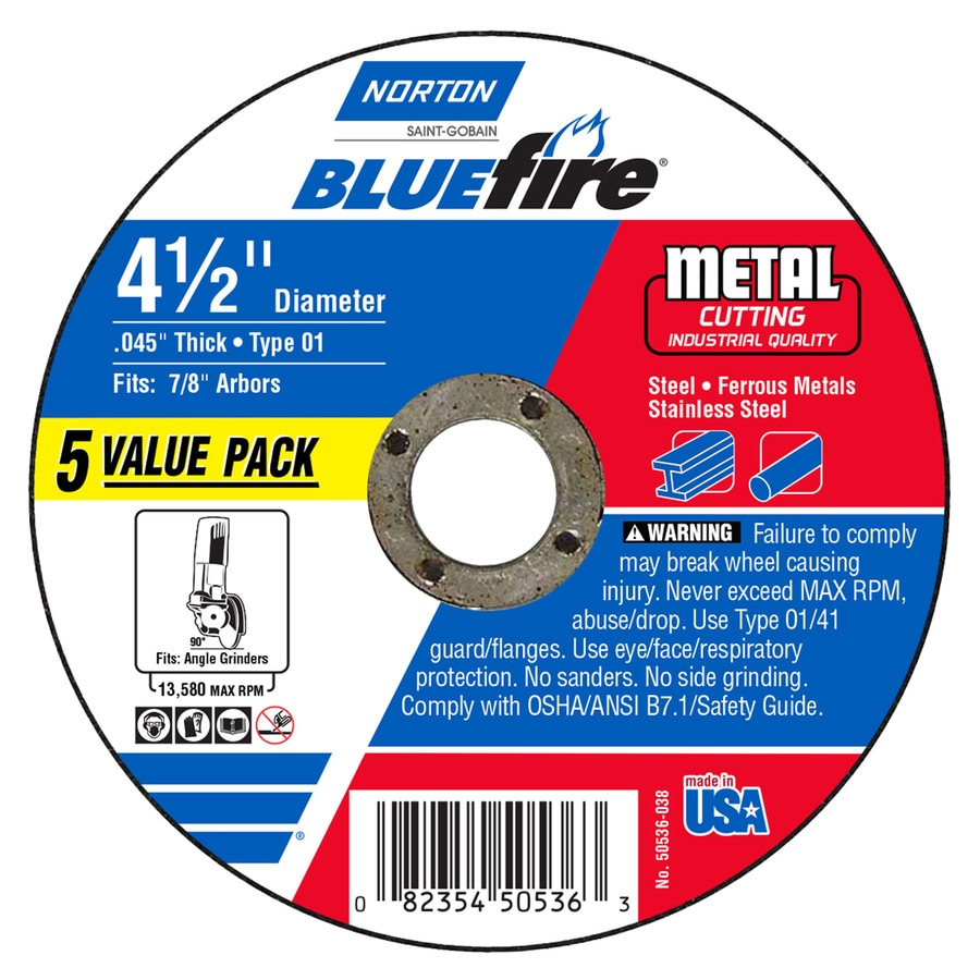 Norton Bluefire 5-Pack Bonded Abrasive 4.5-in Cut-off Wheel
