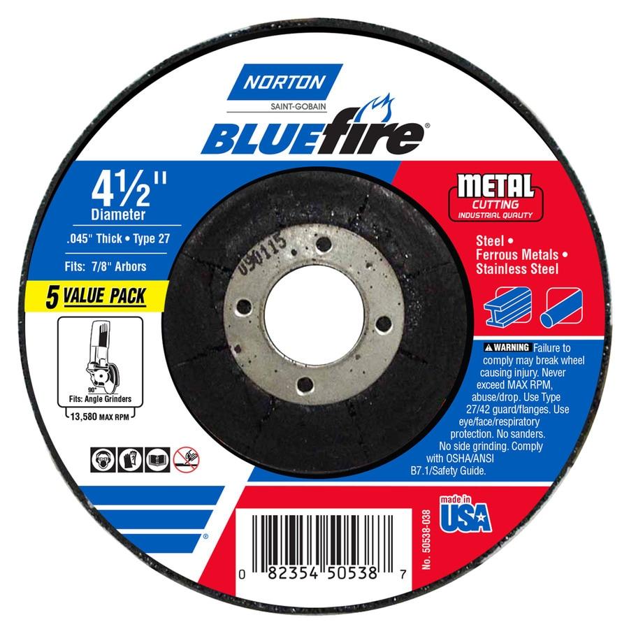 Norton 5-Pack Bluefire Bonded Abrasive 4.5-in Cut-Off Wheel