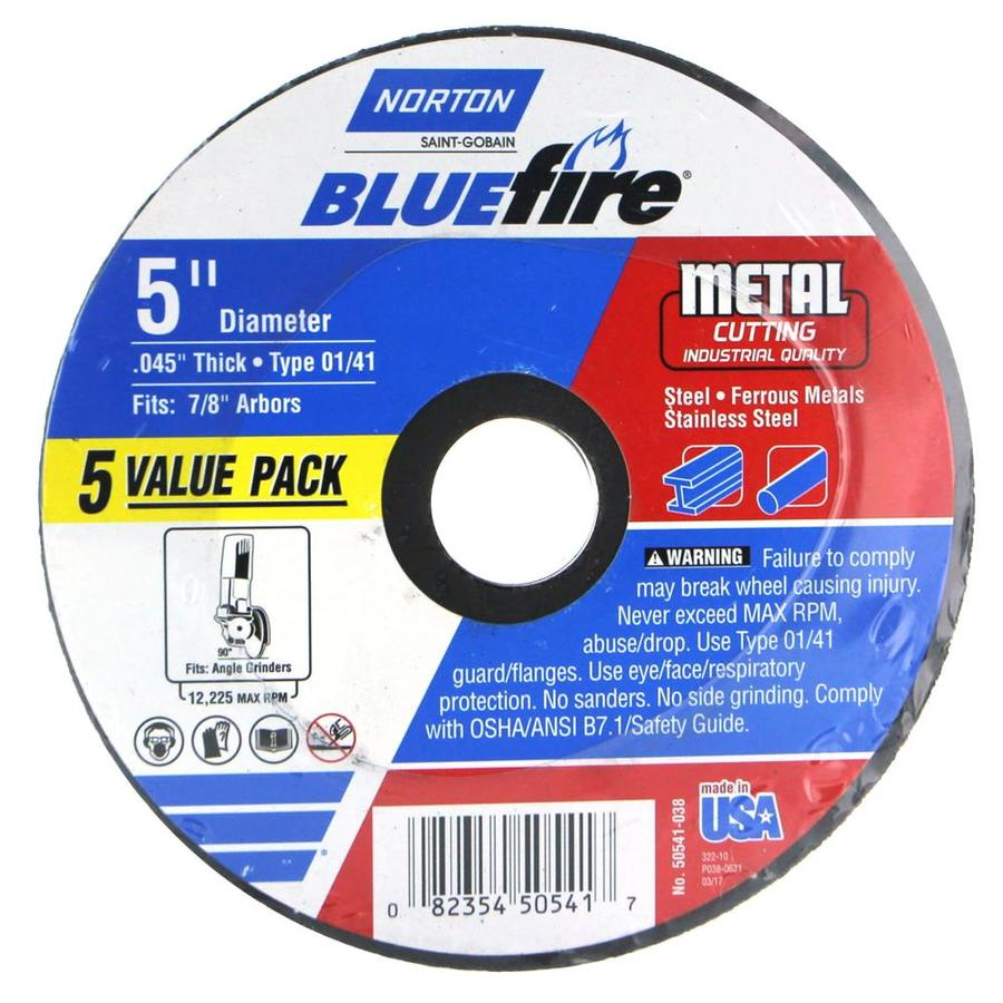 Norton 5-Pack Bluefire Bonded Abrasive 5-in Cut-Off Wheel