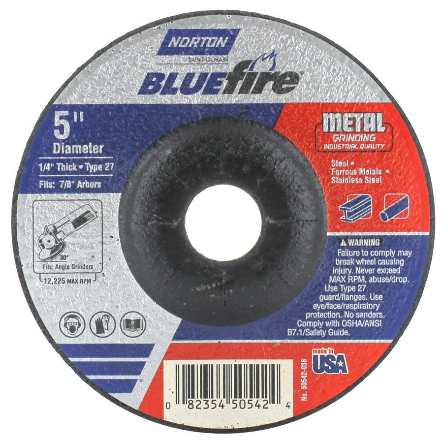 Norton Bluefire Bonded Abrasive 5-in Grinding Wheel