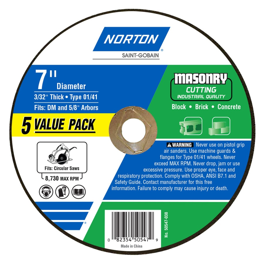 Norton Bluefire 5-Pack Bonded Abrasive 7-in Cut-off Wheel