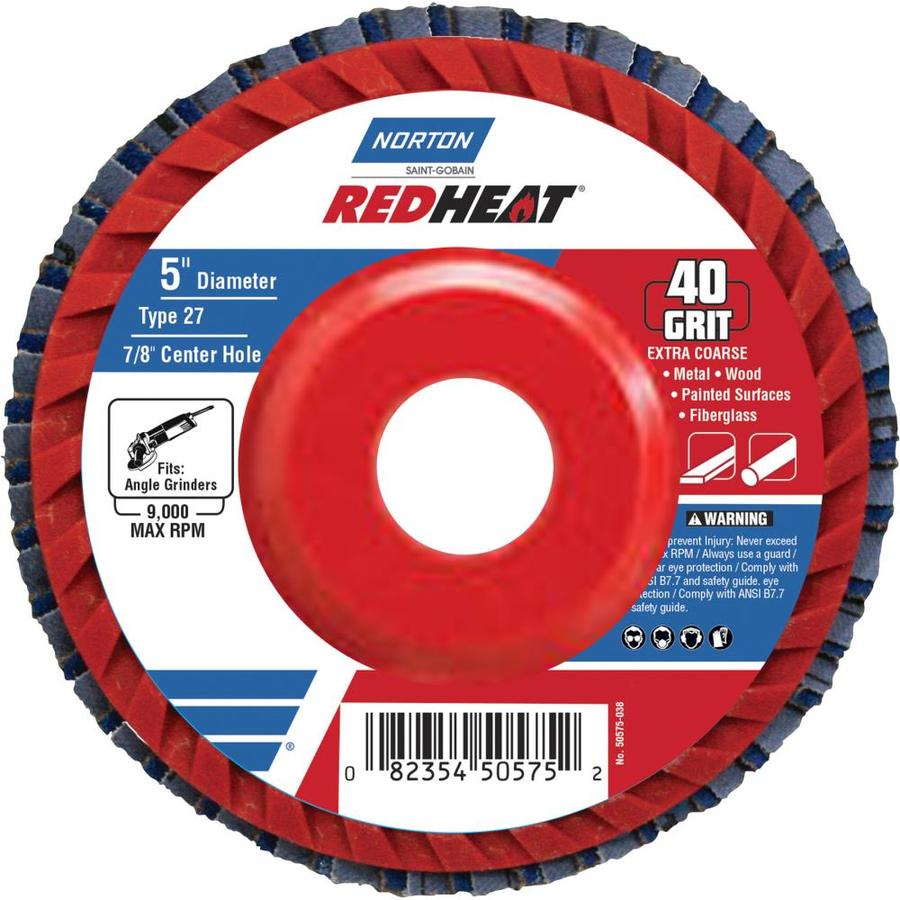 Norton Redheat Ceramic 5-in 40-Grit Flap Disc