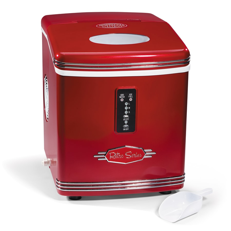 Shop Nostalgia 26 Lb Drop Down Portable Ice Maker Red At