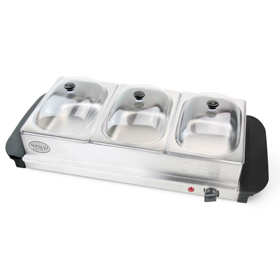 Nostalgia 3-Station Electric Buffet Server/Warming Tray Combination