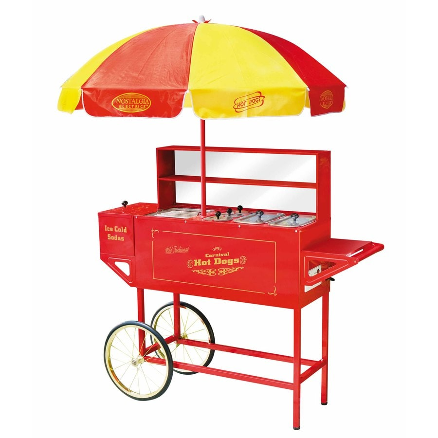 Nostalgia Vintage Carnival Hot Dog Cart and Umbrella